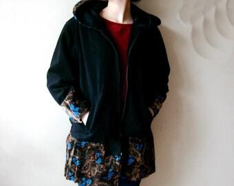 Black hooded Coat with Zipper, Patchwork Coat, Ladies Hooded Fleece Jacket handmade fashion
