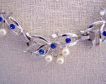 Vintage Blue Rhinestone Pearls Bridal Bridesmaid Wedding Prom Art Deco Silver Necklace Doodaba