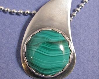 Malachite teardrop sterling silver pendant necklace
