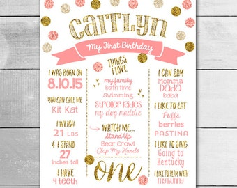 1ST Birthday Board / PRINTABLE Poster / Customized Birthday  Sign / Pink and Gold Glitter Birthday Board / PRINTABLE POSTER / 1948