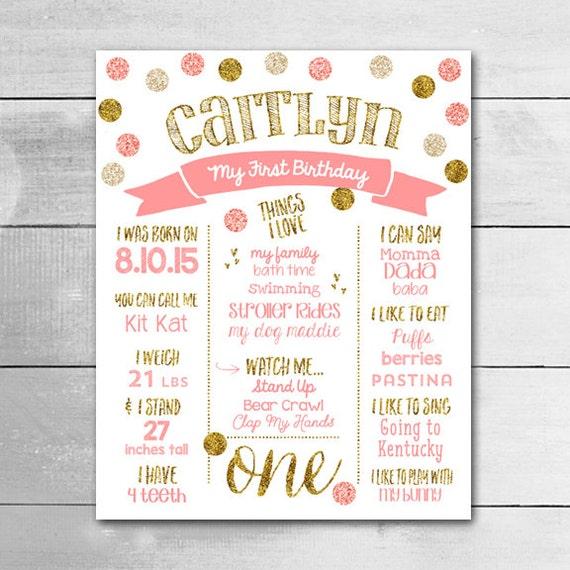 Birthday Date Poster: 1ST Birthday Board / PRINTABLE Poster / Customized Birthday