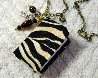 Book Necklace - Book Jewelry - Book Pendant - Book Journal - Handmade Book - Zebra Fabric - BN-13