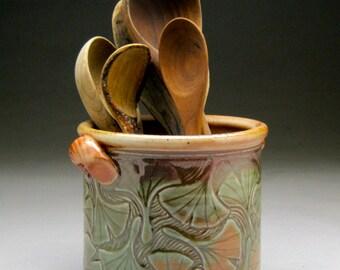 Spoon Jar with Ginkgo Leaf Design
