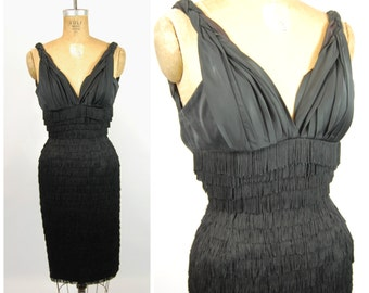 Designer 1950s Fringe Wiggle Dress - Beaumelle Originals California