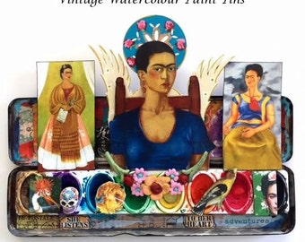 FRIDA KAHLO Collection of Vintage Watercolor Paint Tins, OOAK No. 6