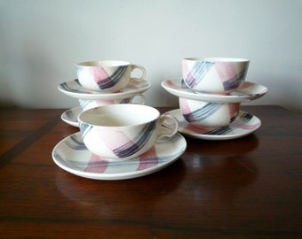 Vintage Stetson Scots Clan Plaid Pink Charcoal Cup and Saucer Set of 5