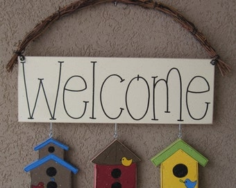 Monthly WELCOME SIGN (bird houses) for wall and home decor