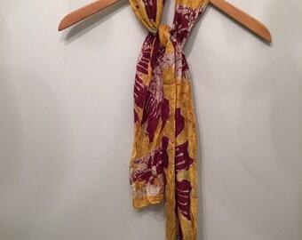 Batik Silk Long Scarf • Colorful Abstract Print Scarf • Necktie • Neck Scarf