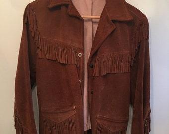 ON SALE vintage.  Rare 50s Brown Suede Fringe Jacket • Cowboy Jacket • Boho Jacket • Suede Coat • Small Jacket