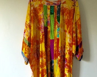 ON SALE Colorful Artist Bohemian Rayon Tunic • Flowy Boho Top •  Unique Oversized Top •  Free Size