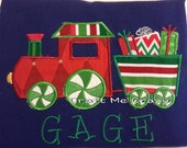 Christmas Present Train - Embroidered and Personalized Child Top - Christmas, Winter