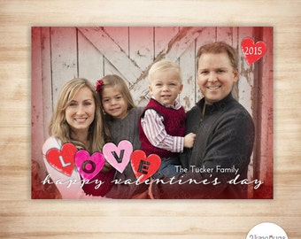 Valentine's Day Photo Card - Valentine Card - Printable Valentine Photo Card - Watercolor Cutout LOVE Hearts - PRINTABLE & PERSONALIZED