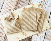 KRAFT Diagonal Stripes Itty Bitty Bags paper giftwrap favour party bags