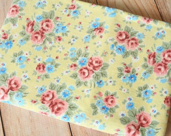 Yellow Shabby Floral Cotton Linen Rayon blend fabric piece