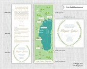 Custom Wedding Map with Itinerary, Wedding Map Invitation--Lake Tahoe (Tri-fold)