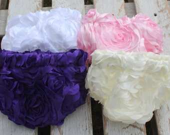 Ribbon Rose Bloomer Purple Pink Ivory White Ice Blue Perfect for Newborn Infant Girl Cake Smash First Birthday Photo Session Baby ShowerGift