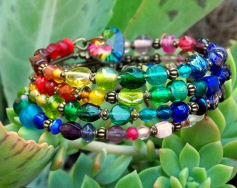 Rainbow  Beaded Memory Wire spiral Wrap Bracelet - Boho Goddess - Gypsy bangle - Urban Goddess