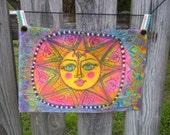 Hippie Art, Sunshine Love, Hippie Peace Art, Prayer For Peace Flag, Original, OOAK