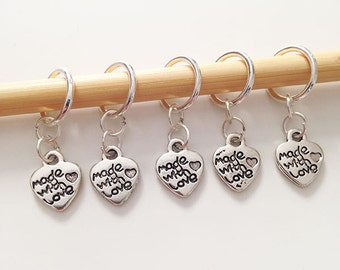Made With Love Stitch Markers - Set of 5