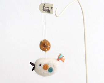 Miniature donut and bird, needle felted ornament - blue, persimmon, white. Spring decor.