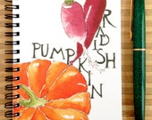 Watercolor Pumpkin and Radish Notebook, 4 x 6 inches, blank pages, foodie chef gift