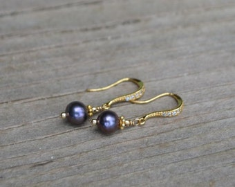Black pearl earrings gold filled cz wires