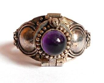 Sterling Poison Locket Ring Genuine Amethyst