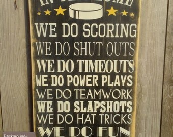 In this house We Do Hockey Vintage Style Custom Family Rules Typography Word Art Sign