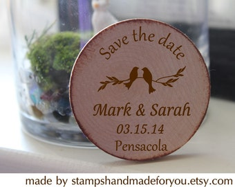 Rustic Wedding wood magnets  Custom Save the date/Wedding Favor Wood Magnets  personalized made to order