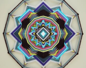 Wildwood Flower, 18 inch, 12-sided yarn mandala by Elizabeth Tingley
