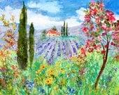 Provence painting Original oil  romance landscape palette knife impressionism on canvas 24x20 fine art by Karen Tarlton