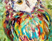 Owl painting original oil on canvas palette knife 12x16 impressionism fine art by Karen Tarlton