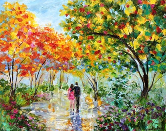 Original oil painting Colors of Love - Autumn romance landscape palette knife impressionism on canvas fine art by Karen Tarlton