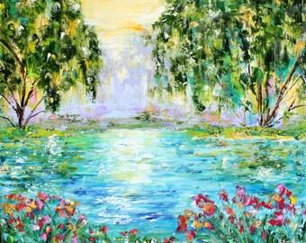 Original oil painting Pond Reflections landscape palette knife impressionism on canvas 24x20 fine art by Karen Tarlton