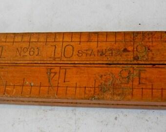 antique vintage wooden folding ruler Stanley #61