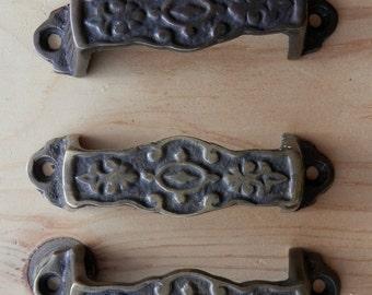 1 vintage cast brass drawer pulls 3 inch screw centers
