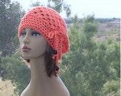 Crochet Cotton Hat,  Womens Hat,     Chemo Hat,   Adjustable  Draw String Ties,  Wood Beads, Crochet Cotton Beanie