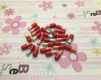 100pcs 20x6mm red wish pill capsule with a message inside, write your own love letter