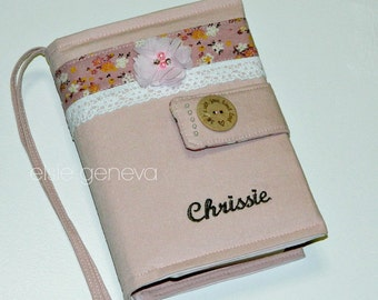 Pink Bible Cover - Made to Order - Blush Japanese Linen & Floral with Lace and Embellished Pearl Beads - Personalized - Optional Handles