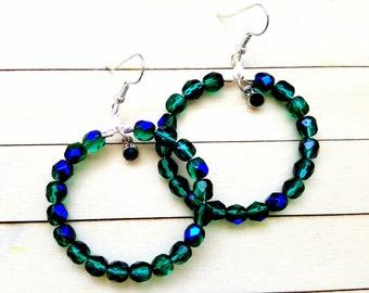 Beaded Hoop Earrings, Boho Style Earrings, Beaded Hoops for Her, Girlfriend Gifts, Green Earrings, Blue Hoop Earrings, Handmade Earrings