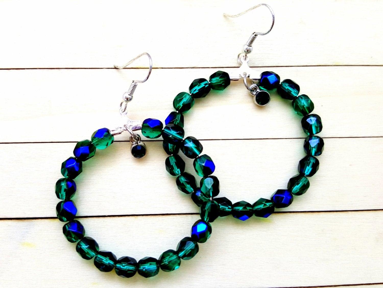 beaded hoop earrings boho style earrings beaded hoops for