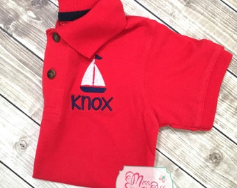 Boys Sailboat Monogrammed Polo