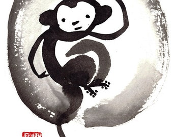 Monkey, Chinese New Year, Year of the Monkey Sumi Zen Painting, zen decor, japanese scroll, childrens room, nursery art, tao, feng shui enso