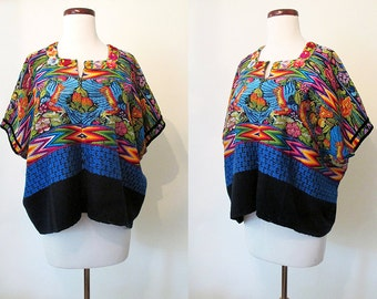 Spectacular 1950's Hand Embroidered Vintage Mexican Huipil Blouse w/ Flowers and Birds from Oaxaca Bohemian Chic  Rockabilly VLV Size-Large