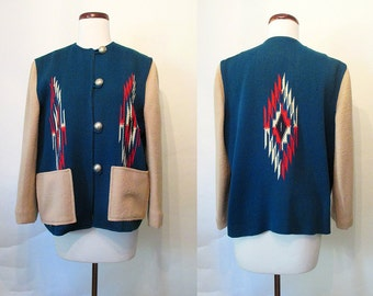 Killer Vintage Western Chimayo Jacket w/ Deep Electric Blue Panels 1950's Rockabilly VLV Mexicana Cowgirl Pinup Girl Rodeo Size-Medium-Large