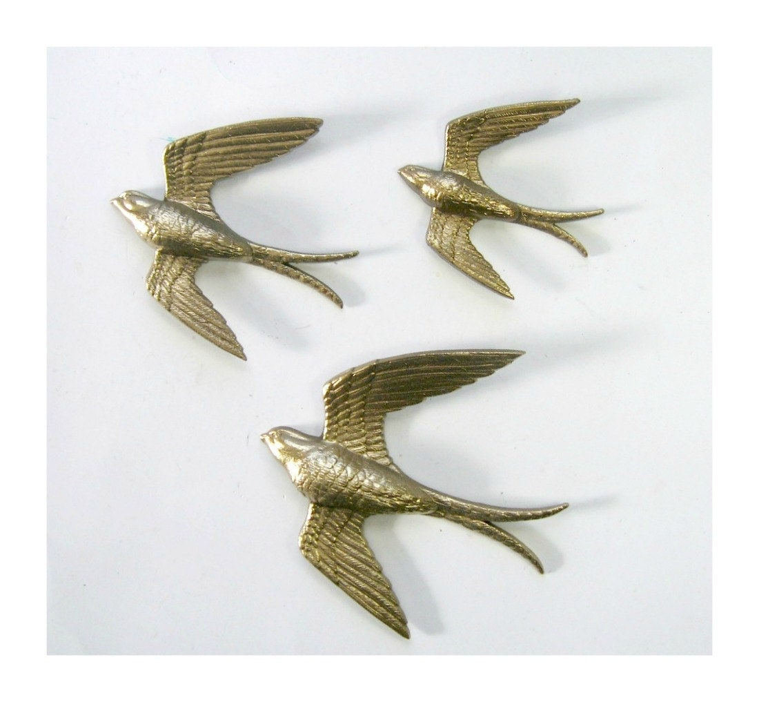 Golden Swallows Bird Wall Art Vintage Burwood Bird Hangings