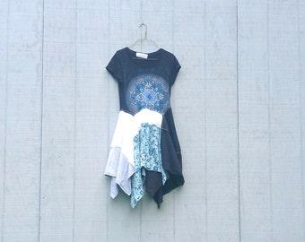 funky stylish lagenlook boho shirt / eco tunic / upcycled clothing jersey casual shirt by CreoleSha