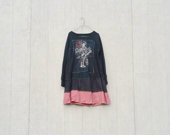 Hard Rock Cafe   Black Dress   Upcycled Dress   Upcycled Clothing   Tshirt Dress   Long Sleeve Dress   Festival Clothing   CreoleSha