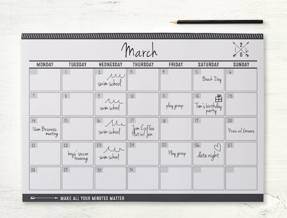 monthly planner printable perpetual undated wall planner