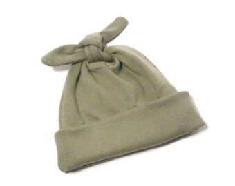 Khaki Newborn Baby Hat - Soft Stretchy Hospital Homecoming Hat - Modern Top Knot Infant Cap - Khaki Pull-On Stretch Baby Hat